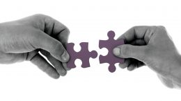 two hands holding puzzle peices white background