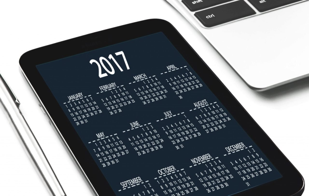 calendar shown on tablet