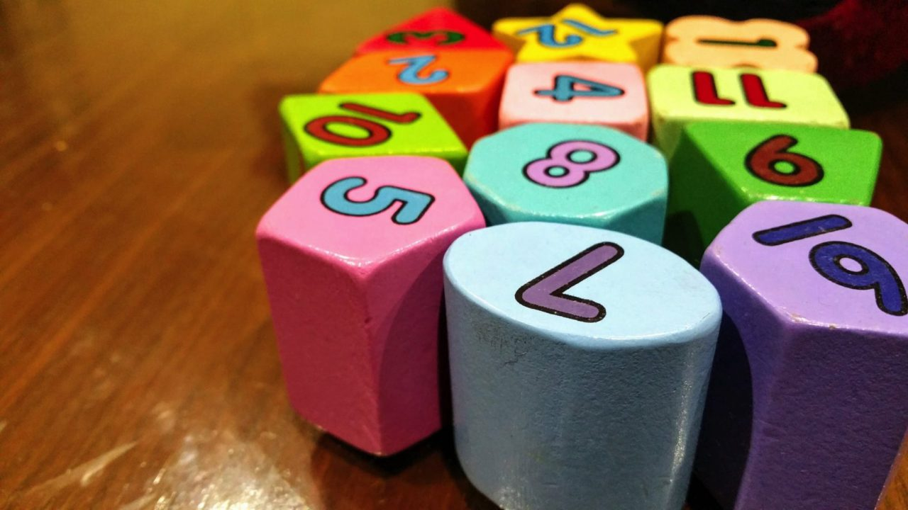 different chaped blocks with numbers