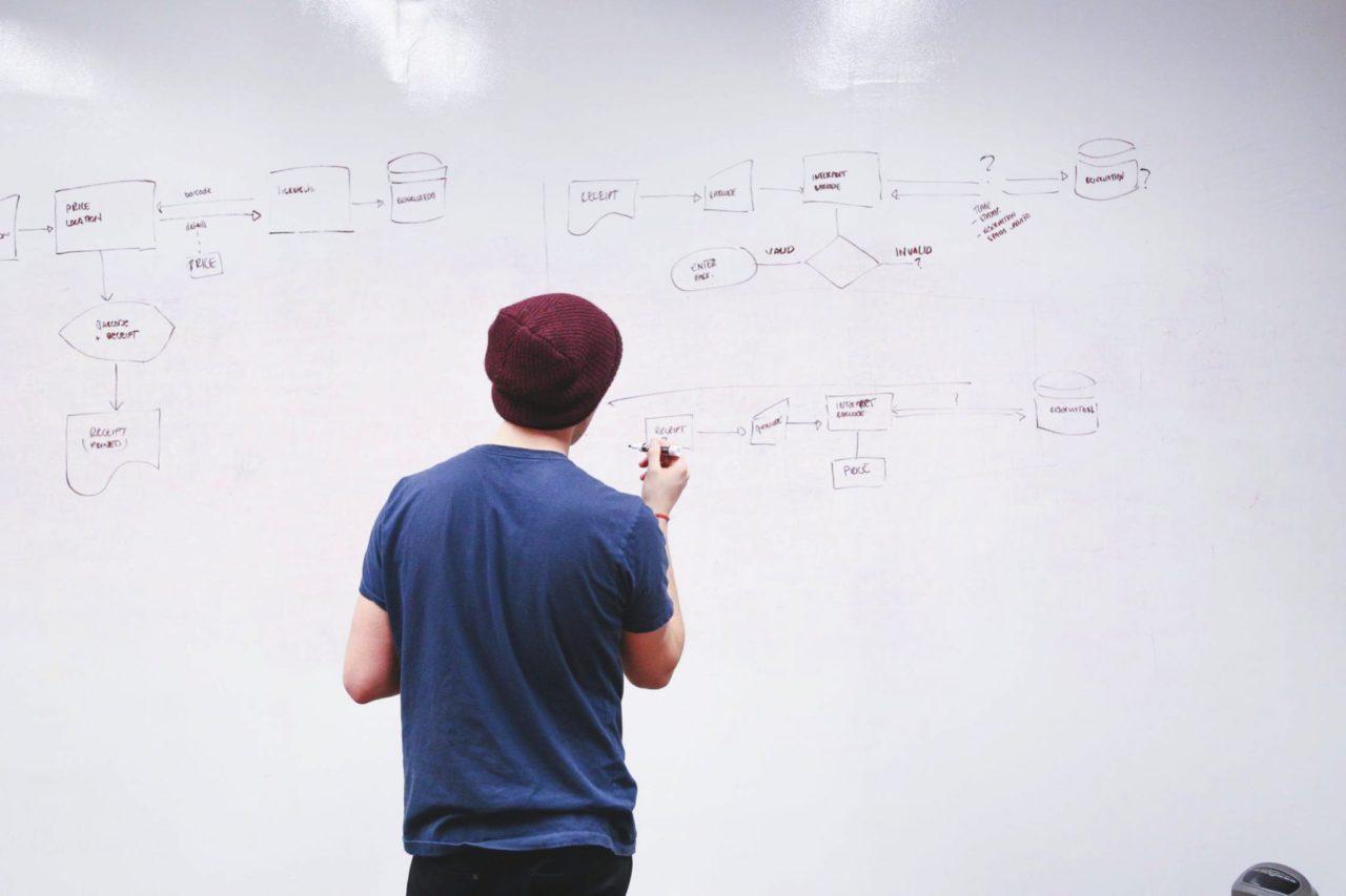 man drawing flowchart on whiteboard