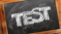 chalk board with the words test